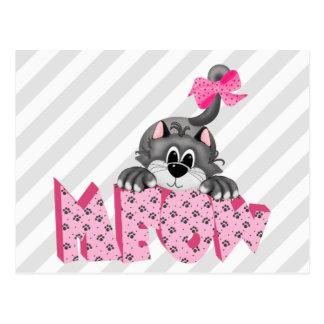 Cartão Postal Gato cinzento e Meow cor-de-rosa