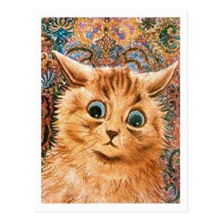 Cartão Postal Gato com fundo Louis Wain do papel de parede