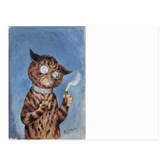 Cartão Postal Gato com um charuto