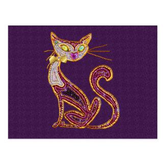 Cartão Postal Gato da arte da jóia do Frisado-Olhar