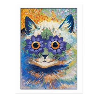 Cartão Postal Gato da flor por Louis Wain