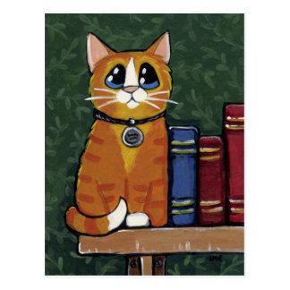 Cartão Postal Gato de gato malhado do gengibre na ilustração da