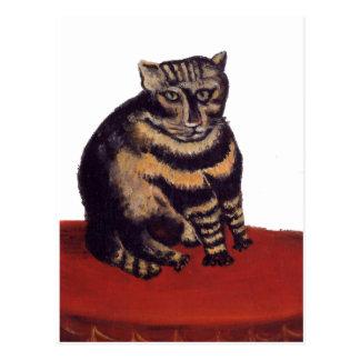 Cartão Postal Gato de gato malhado por Henri Rousseau