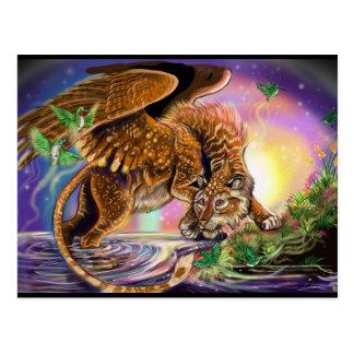 Cartão Postal Gato de vôo do caçador do crepúsculo