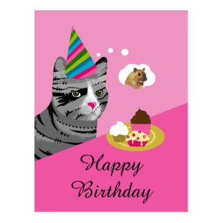 Cartão Postal Gato do feliz aniversario com cupcakes