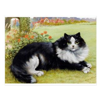 Cartão Postal Gato do gato de Louis Wain, o preto & o branco