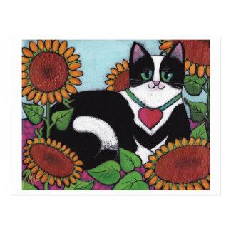 Cartão Postal Gato do girassol