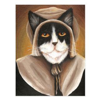 Cartão Postal Gato do peregrino vestido na roupa colonial do