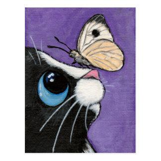 Cartão Postal Gato do smoking e pintura branca da borboleta