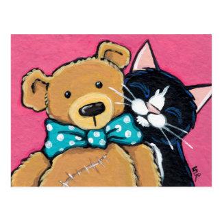 Cartão Postal Gato do smoking e urso de ursinho com laço