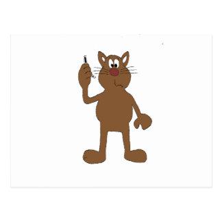 Cartão Postal Gato dos desenhos animados com telemóvel