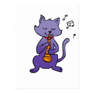 Cartão Postal Gato dos desenhos animados que joga a flauta