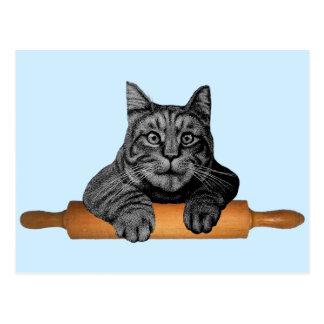 Cartão Postal gato engraçado do padeiro do purrfect