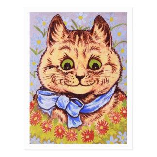 Cartão Postal Gato feliz da flor por Louis Wain