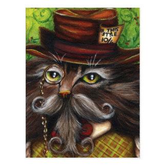 Cartão Postal Gato louco Alice do Hatter na arte da fantasia do