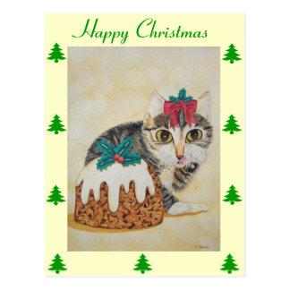 Cartão Postal gato malhado cinzento do gatinho bonito que lambe