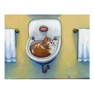 Cartão Postal Gato na arte lunática feliz do divertimento da