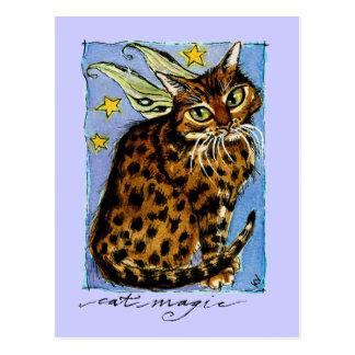 Cartão Postal Gato Ocicat mágico com asas feericamente