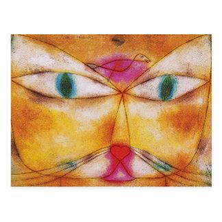 Cartão Postal Gato & pássaro por Paul Klee