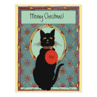"""Cartão Postal Gato preto de """"Natal da arte do vintage Meowy """""""
