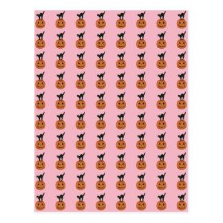 Cartão Postal Gato preto de sorriso bonito da abóbora da