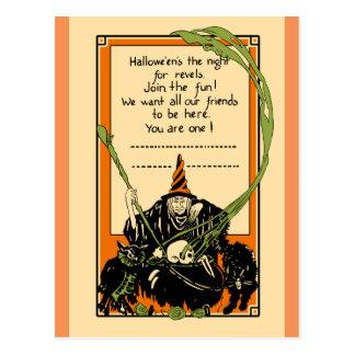 Cartão Postal Gato preto e coruja do caldeirão do vintage