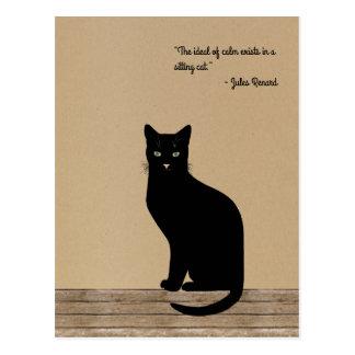 Cartão Postal Gato preto projetado elegante - citações de Renard