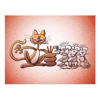 Cartão Postal Gato que escolhe um rato tirando a palha curta