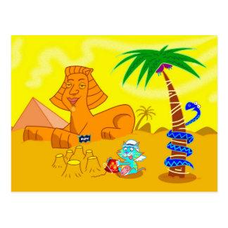 Cartão Postal Gato que faz um Sandcastle