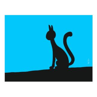 Cartão Postal Gato que olha calma no silêncio