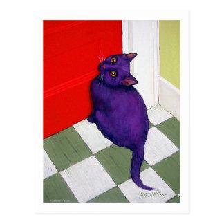 Cartão Postal Gato que quer sair aqui