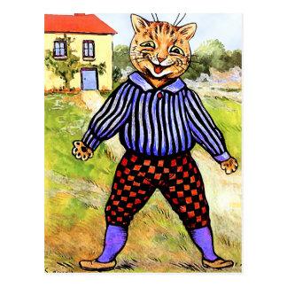 Cartão Postal Gato que veste culatras por Louis Wain
