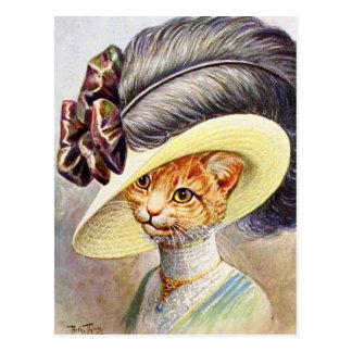 Cartão Postal Gato que veste o chapéu da pena