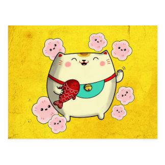 Cartão Postal Gato redondo bonito de Maneki Neko