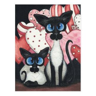 Cartão Postal Gato Siamese dos namorados - x dois do amor