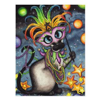 Cartão Postal Gato Siamese gordo de terça-feira do carnaval