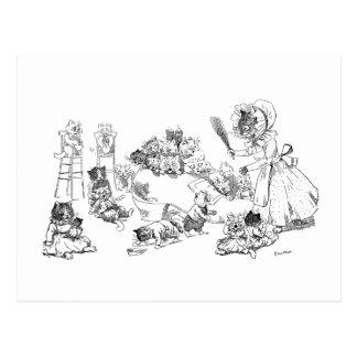Cartão Postal Gato velho de Louis Wain na rima de berçário dos
