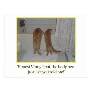 Cartão Postal Gatos alaranjados do Dia das Bruxas do gato