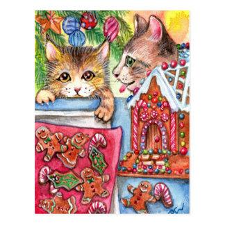 Cartão Postal Gatos & biscoitos do pão-de-espécie