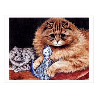 Cartão Postal Gatos com boneca de China