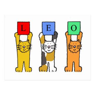 Cartão Postal Gatos do aniversário do zodíaco de Leo