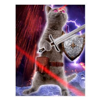 Cartão Postal gatos do guerreiro - gato do cavaleiro - laser do
