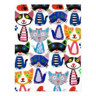 Cartão Postal gatos felizes coloridos