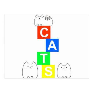 Cartão Postal Gatos, kittys e blocos