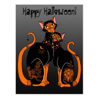 Cartão Postal Gatos modelados salgueiro do Dia das Bruxas