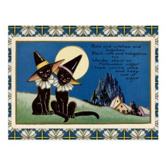 Cartão Postal Gatos pretos o Dia das Bruxas do vintage dois