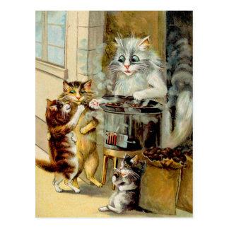 Cartão Postal Gatos que comem castanhas Roasted