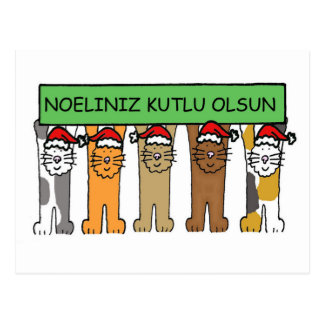 Cartão Postal Gatos turcos Noeliniz Kutlu Olsu do Natal