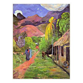 Cartão Postal Gauguin - estrada em Tahiti