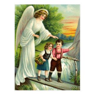 Cartão Postal Gel, de protecção, meninos e ponte,